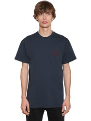 Loewe Embroidered Anagram Jersey T Shirt Navy