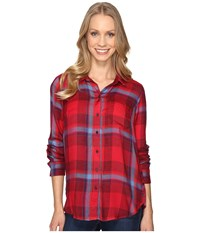 Lucky Brand Button Side Shirt Red Multi Women's Clothing