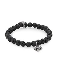 King Baby Studio Lava Rock And Sterling Silver Beaded Cross Bracelet Black