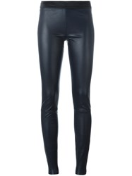 Drome Leather Skinny Trousers Blue
