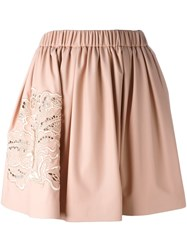 Msgm Elastic Waistband Embroidered Skirt Pink And Purple