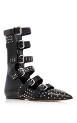 Red Valentino Buckled Flat With Microstuds Black