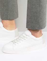 Selected Homme Davied Leather Trainers White