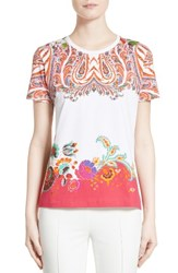 Etro Women's Paisley Border Print Cotton Tee