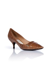 Salvatore Ferragamo Cinnamon Tweeny Crocodile Kitten Heel Pumps Brown