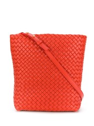 Bottega Veneta Woven Shoulder Bag Orange