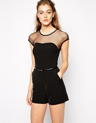 Mango Mesh Insert Tailored Playsuit Black