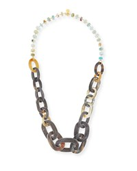 Devon Leigh Mixed Rondelle And Horn Link Necklace Multi