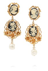 Dolce And Gabbana Cameo Gold Plated Faux Pearl Clip Earrings One Size