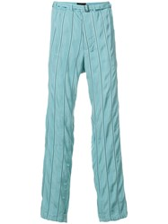 Haider Ackermann Striped Belted Trousers Blue