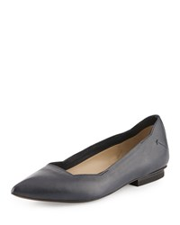 Cnc Costume National Pointed Toe Leather Flat Dark Blue