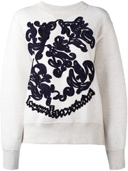 Sacai Embroidered Sweatshirt Nude Neutrals
