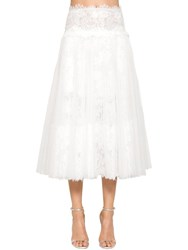 Ermanno Scervino High Waist Lace And Tulle Pleated Skirt White
