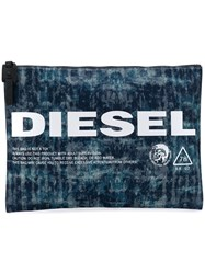 Diesel Treated Denim Pouch Blue