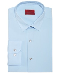Alfani Red Fitted Solid Performance Dress Shirt Light Blue