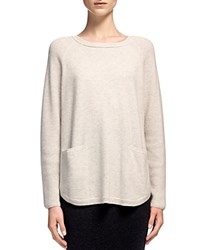 Whistles Cashmere Ribbed Sleeve Boxy Sweater Pale Grey
