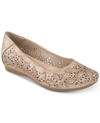 Bare Traps Mariah Perforated Memory Foam Hidden Wedge Flats Women's Shoes Soft Gold