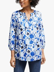 John Lewis Collection Weekend By Lavinia Linen Floral Smock Top White Blue