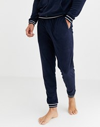 Lacoste Shower Terry Logo Cuffed Joggers In Navy