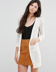 Yumi Long Pointelle Cardigan Cream