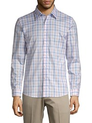 Hyden Yoo Plaid Slim Fit Cotton Button Down Shirt Pink Blue