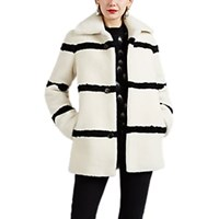 Saint Laurent Striped Shearling Jacket White