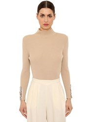 Delpozo Wool Rib Knit Sweater W Sequined Cuffs Beige