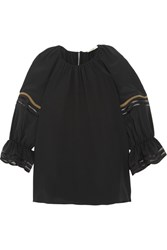 Fendi Mesh Trimmed Silk Crepe De Chine Blouse Black