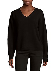 Cashmere Saks Fifth Avenue Batwing Deep V Neck Sweater Cranberry