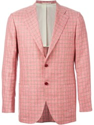 Kiton Checked Blazer Pink And Purple