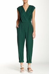 American Apparel Solid Surplice Jumpsuit Green