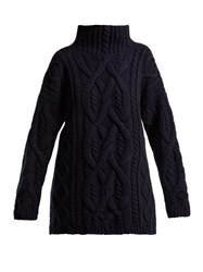 Connolly Cable Knitted Wool And Cashmere Sweater Navy