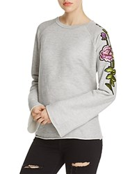 Nation Ltd. Ltd Embroidered Sleeve Pullover 100 Exclusive Heather Gray
