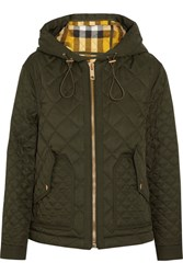 Burberry Quilted Shell Hooded Jacket Army Green