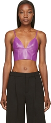 Alexander Wang Purple Lether Raw Edged Triangle Bralette