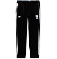Adidas Consortium Have A Good Time Tapered Logo Embroidered Striped Velour Sweatpants Black