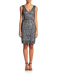 Theia Beaded V Neck Cocktail Dress Arctic Blue