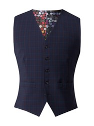 Gibson Men's Navy Waistcoat With Soft Red Check Blue