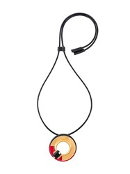 Marni Disc Pendant Necklace Black