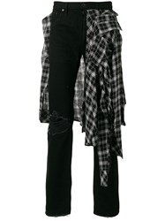 Unravel Project Trousers With Raw Edged Plaid Detail Black