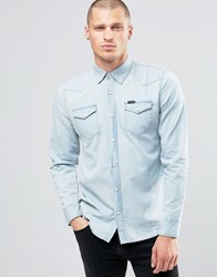 Religion Denim Shirt With Press Stud Buttons Ice Blue