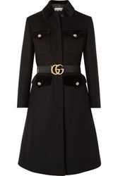 Gucci Belted Velvet Trimmed Wool Blend Felt Coat Black