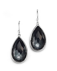 Ippolita Sterling Silver Rock Candy Medium Pear Wire Earrings In Clear Quartz And Hematite Grey Silver