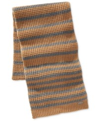 Michael Kors Men's Thermal Striped Scarf Camel Ash