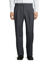 Neiman Marcus Easy Fit Pleated Pants Banker's Gray
