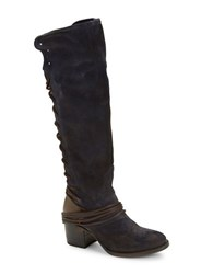 Freebird Coal Leather And Suede Knee High Boots Navy Blue