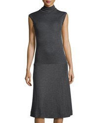 Brunello Cucinelli Sleeveless Turtleneck Wool Dress Dark Gray