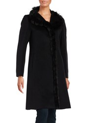 Cinzia Rocca Fox Fur Trimmed Italian Virgin Wool Coat