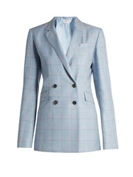 Gabriela Hearst Themis Checked Silk And Wool Blend Jacket Light Blue