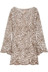 Haute Hippie Bead Embellished Lace Mini Dress Cream